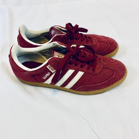 "online retailer detailed pictures website for discount Adidas Samba Hemp ""Burgundy"" sz 8"